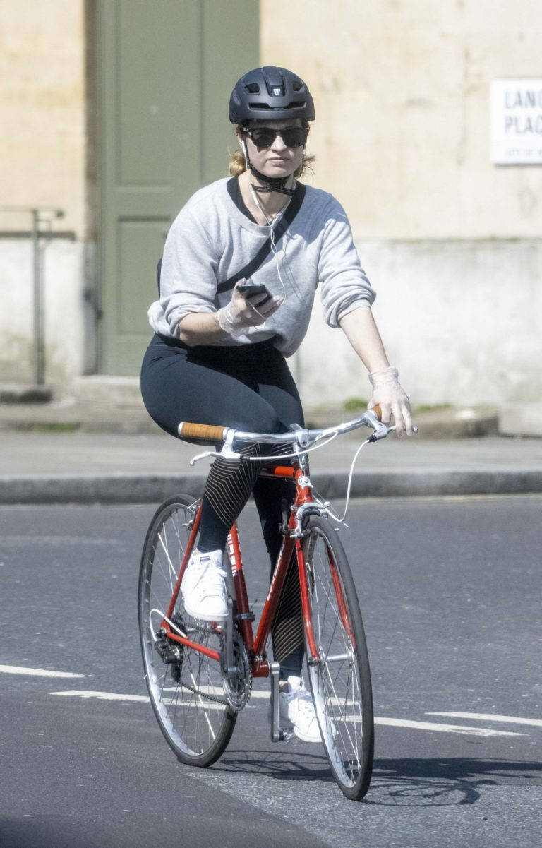 Lily James enjoy ride bike out for her daily exercise during COVID-19 in London 2020/04/11 15