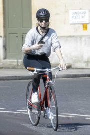 Lily James enjoy ride bike out for her daily exercise during COVID-19 in London 2020/04/11 16
