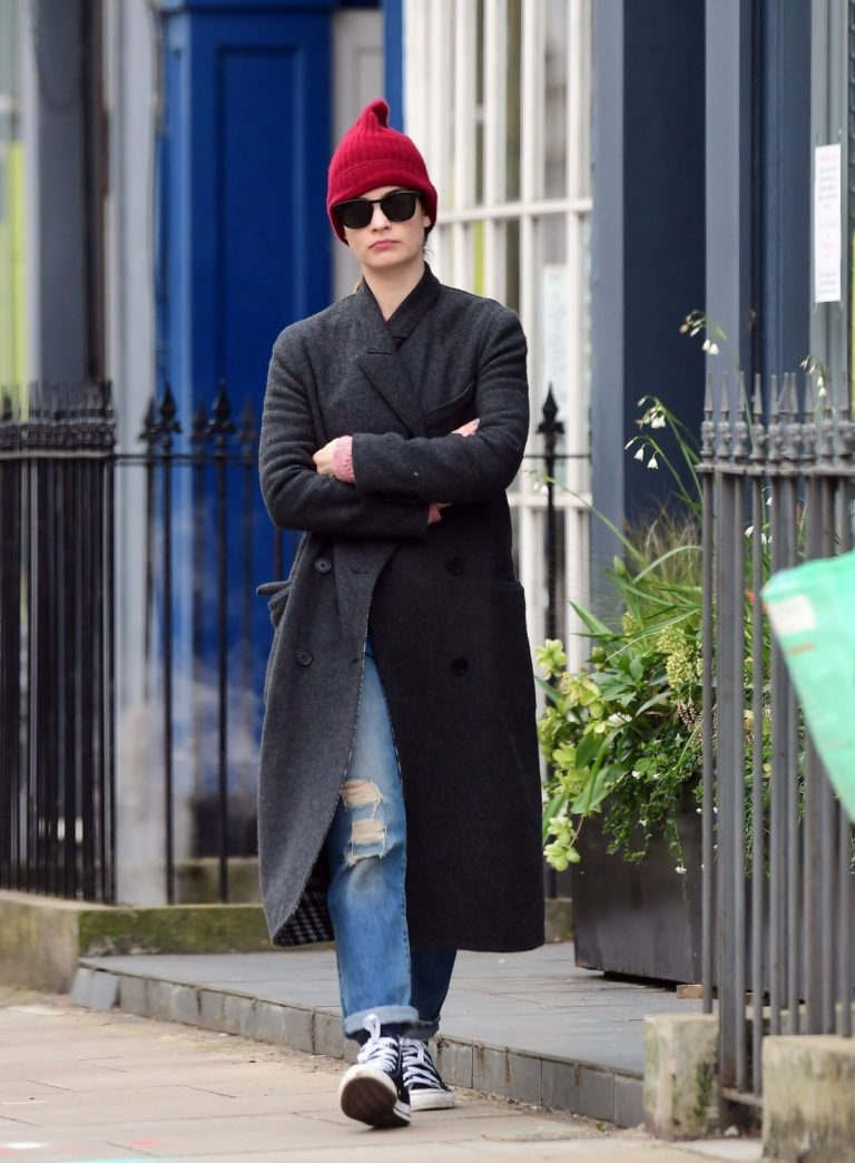 Lily James seen in red hat with long coat out in North London 2020/04/02 1