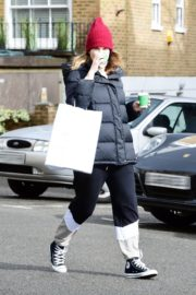 Lily James seen in Red Head Cap with Puppy Jacket Out in North London 2020/04/10 1