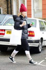 Lily James seen in Red Head Cap with Puppy Jacket Out in North London 2020/04/10 4