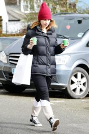 Lily James seen in Red Head Cap with Puppy Jacket Out in North London 2020/04/10 5