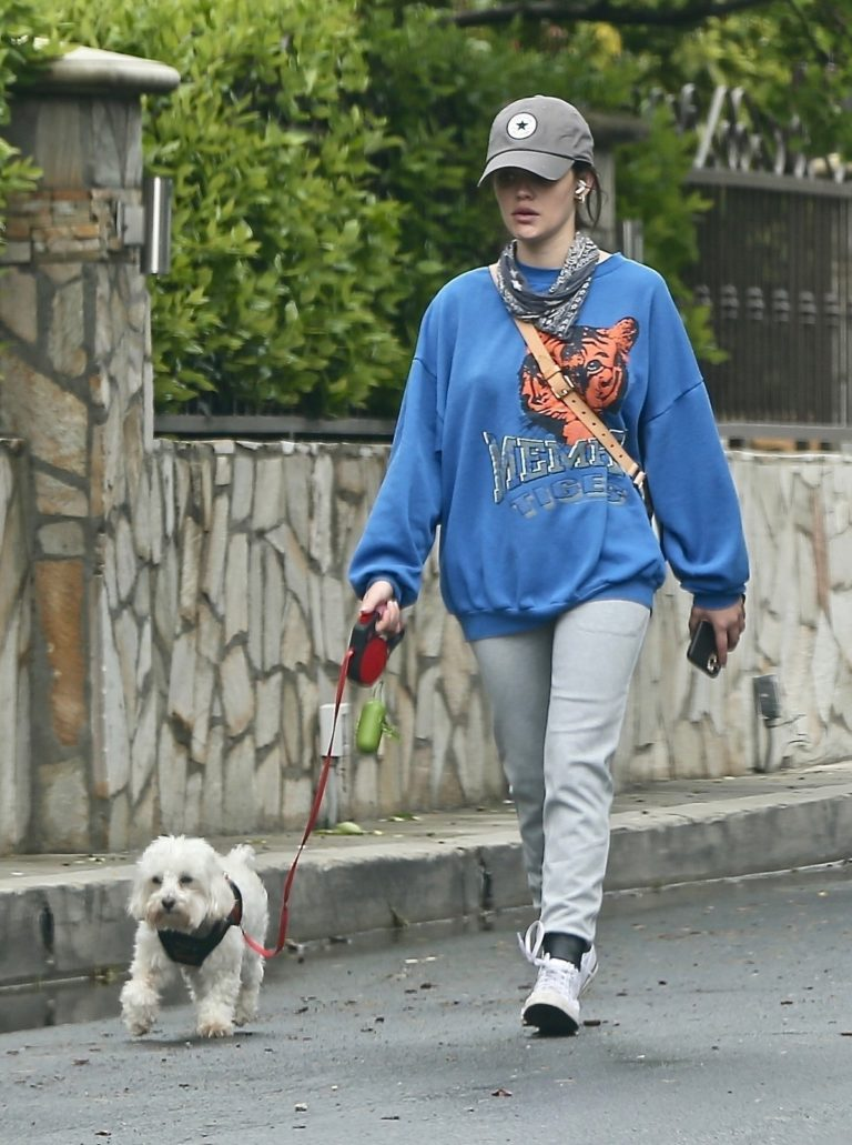 Lucy Hale evening walk with her puppy out in Los Angeles 2020/04/10 2