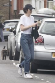 Michelle Dockery in White Top and Blue Denim Out in North London 2020/04/06 1