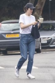 Michelle Dockery in White Top and Blue Denim Out in North London 2020/04/06 2