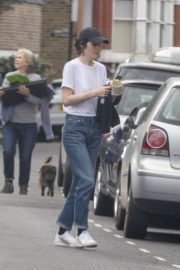 Michelle Dockery in White Top and Blue Denim Out in North London 2020/04/06 5