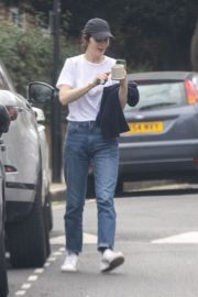 Michelle Dockery in White Top and Blue Denim Out in North London 2020/04/06 6