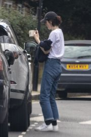Michelle Dockery in White Top and Blue Denim Out in North London 2020/04/06 7