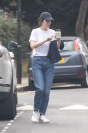 Michelle Dockery in White Top and Blue Denim Out in North London 2020/04/06 8