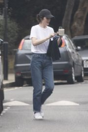 Michelle Dockery in White Top and Blue Denim Out in North London 2020/04/06 10