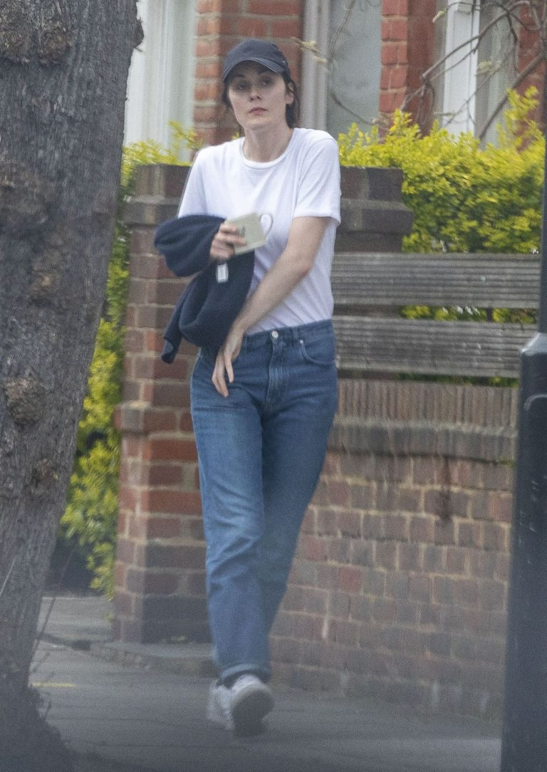 Michelle Dockery in White Top and Blue Denim Out in North London 2020/04/06 11