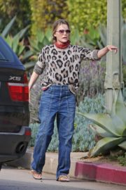 Michelle Pfeiffer in Tiger Print Top outside her home in the Pacific Palisades 2020/04/04 5