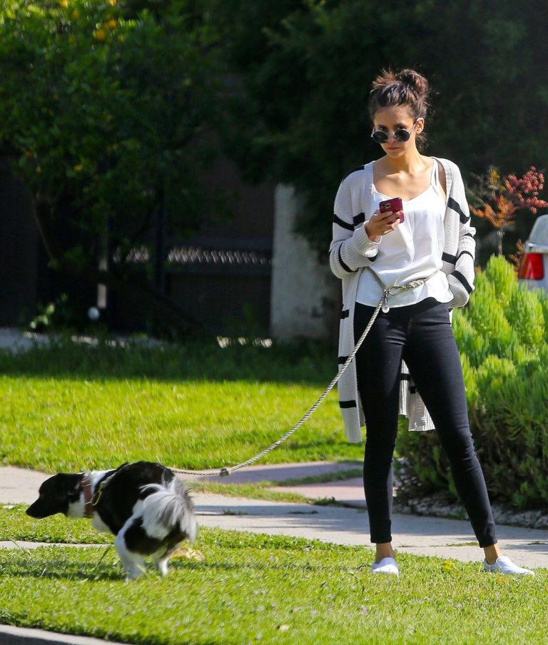 Nina Dobrev out for a walk her dog in Los Angeles, California 2020/04/07 1