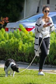 Nina Dobrev out for a walk her dog in Los Angeles, California 2020/04/07 2