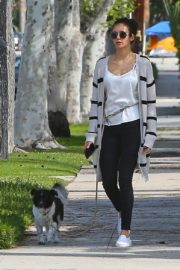 Nina Dobrev out for a walk her dog in Los Angeles, California 2020/04/07 3