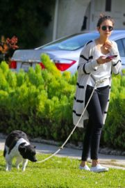 Nina Dobrev out for a walk her dog in Los Angeles, California 2020/04/07 10