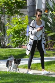 Nina Dobrev out for a walk her dog in Los Angeles, California 2020/04/07 11