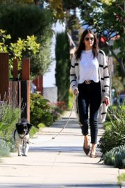 Nina Dobrev walk with her dog out in West Hollywood 2020/04/11 2