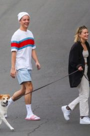 Olivia Holt walks her dog with a friend in Los Angeles 2020/03/31 2