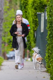 Olivia Holt walks her dog with a friend in Los Angeles 2020/03/31 3