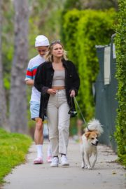 Olivia Holt walks her dog with a friend in Los Angeles 2020/03/31 5
