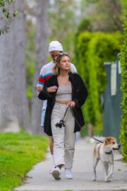 Olivia Holt walks her dog with a friend in Los Angeles 2020/03/31 7
