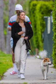 Olivia Holt walks her dog with a friend in Los Angeles 2020/03/31 8