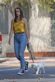 Ana De Armas seen in Yellow Top During a morning walk with her dog in California 2020/05/09 1