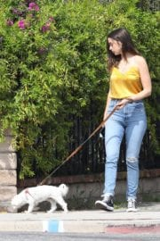 Ana De Armas seen in Yellow Top During a morning walk with her dog in California 2020/05/09 12