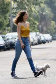 Ana De Armas seen in Yellow Top During a morning walk with her dog in California 2020/05/09 16