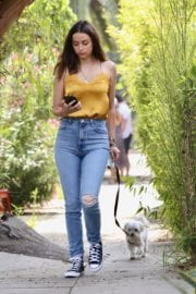Ana De Armas seen in Yellow Top During a morning walk with her dog in California 2020/05/09 19