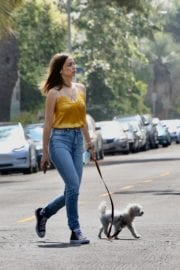 Ana De Armas seen in Yellow Top During a morning walk with her dog in California 2020/05/09 20