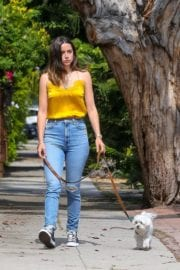 Ana De Armas seen in Yellow Top During a morning walk with her dog in California 2020/05/09 36