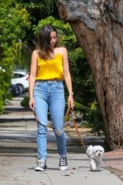 Ana De Armas seen in Yellow Top During a morning walk with her dog in California 2020/05/09 40