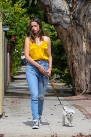 Ana De Armas seen in Yellow Top During a morning walk with her dog in California 2020/05/09 42