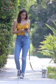 Ana De Armas seen in Yellow Top During a morning walk with her dog in California 2020/05/09 43