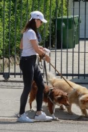 Aubrey Plaza walks with her dogs to the Pet Store in Los Feliz 2020/05/09 7