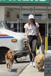 Aubrey Plaza walks with her dogs to the Pet Store in Los Feliz 2020/05/09 8
