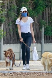 Aubrey Plaza walks with her dogs to the Pet Store in Los Feliz 2020/05/09 17