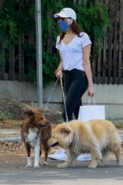 Aubrey Plaza walks with her dogs to the Pet Store in Los Feliz 2020/05/09 18