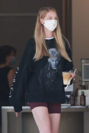 Abby Champion Wearing a Gucci Mask at Caffe Luxxe in Los Angeles 2020/06/10 7