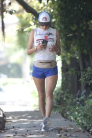 Alessandra Ambrosio During Jogging in Short Pants Out  in Brentwood 2020/06/11 1