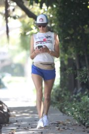 Alessandra Ambrosio During Jogging in Short Pants Out  in Brentwood 2020/06/11 3