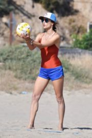 Alessandra Ambrosio in Swimsuit Playing Volleyball at a Beach 2020/06/21 3