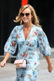 Amanda Holden in Blue Floral Dress at Global Radio in London 2020/06/04 2