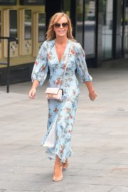 Amanda Holden in Blue Floral Dress at Global Radio in London 2020/06/04 3