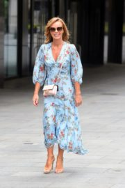 Amanda Holden in Blue Floral Dress at Global Radio in London 2020/06/04 5