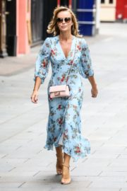 Amanda Holden in Blue Floral Dress at Global Radio in London 2020/06/04 6