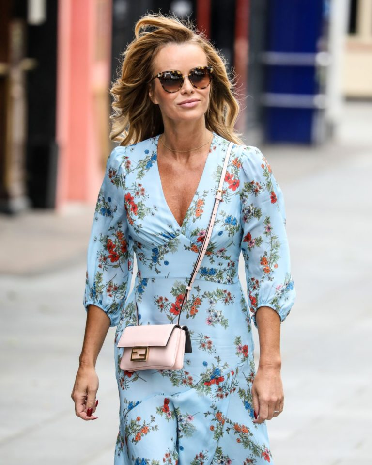 Amanda Holden in Blue Floral Dress at Global Radio in London 2020/06/04 8