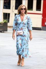 Amanda Holden in Blue Floral Dress at Global Radio in London 2020/06/04 9